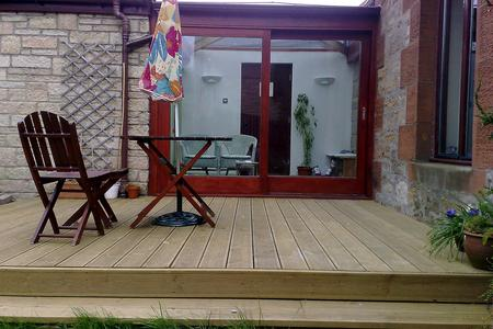 timber decking at house in east lothian